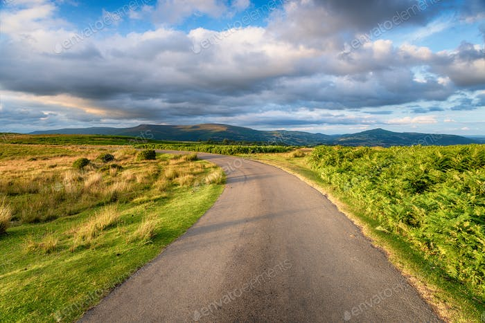 A country lane through the Brecon Beacons
