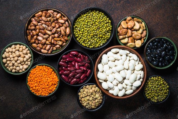 Legumes, lentils, chikpea and beans assortment