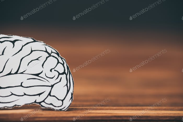 close up of paper with brain shape as alzheimer symbol