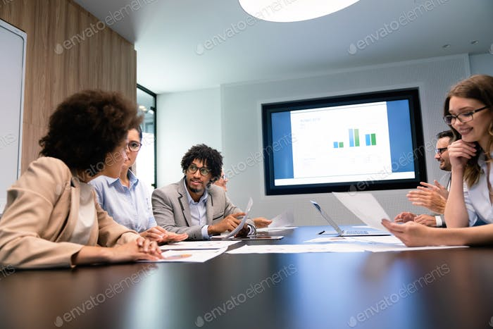 Entrepreneurs and business people conference in modern meeting room