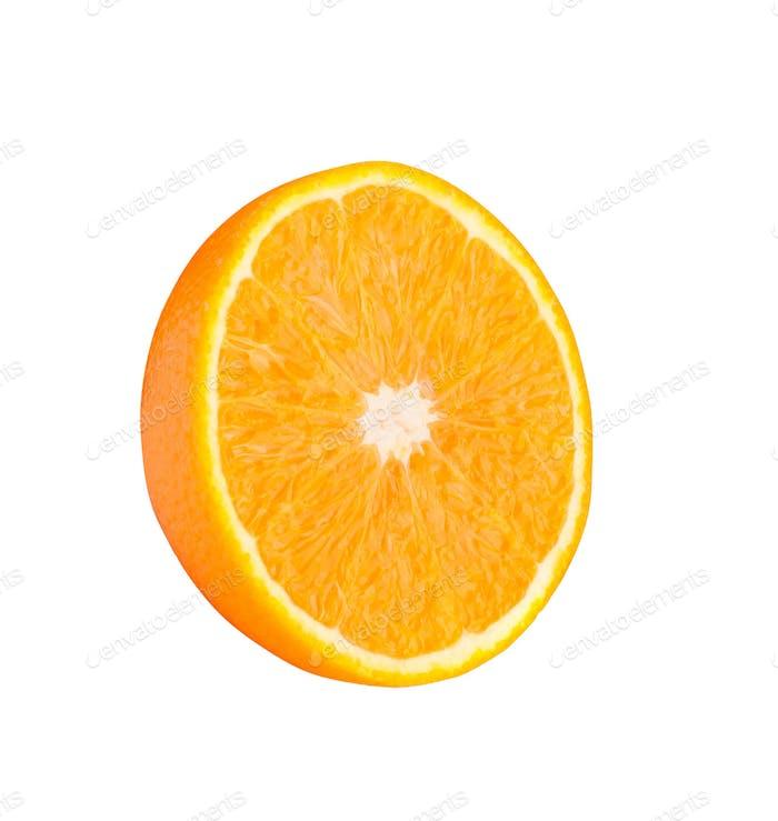 Half orange fruit on white background