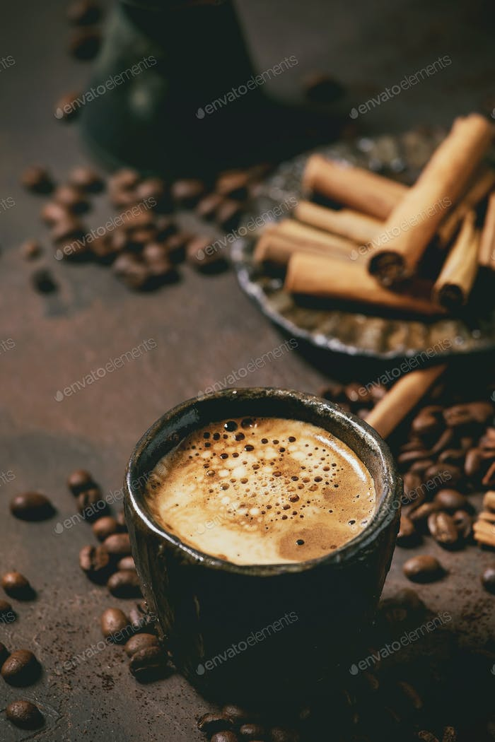Black coffee with spices