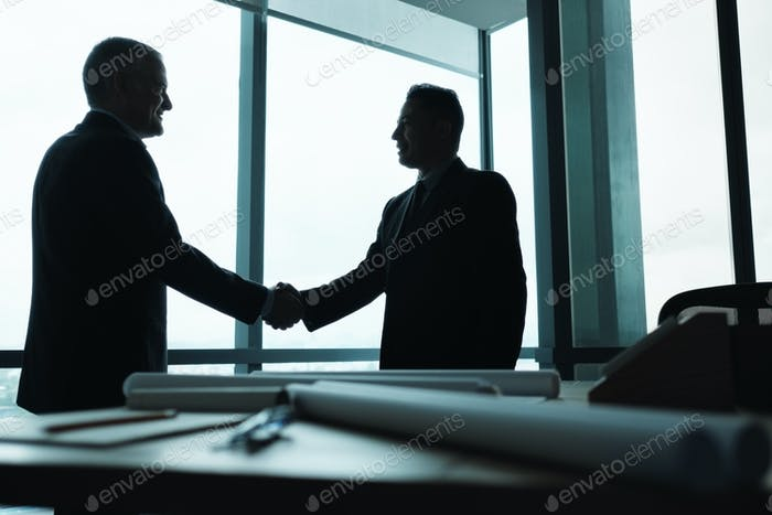 Manager Shaking Hands of Business Partner In Meeting Room