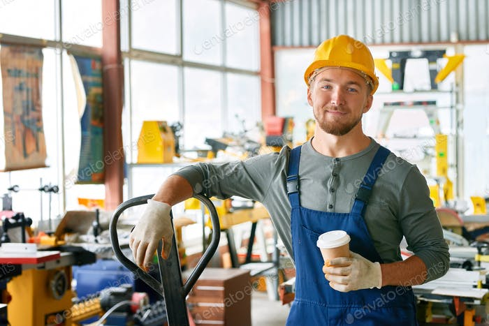 Smiling Young Workman on Break