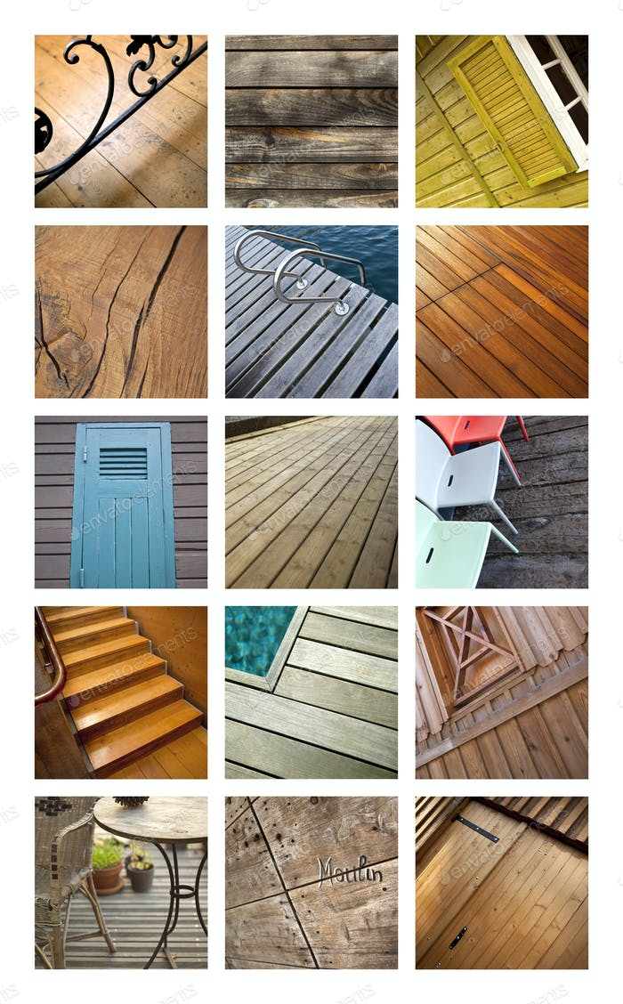 Collage of wooden architecture