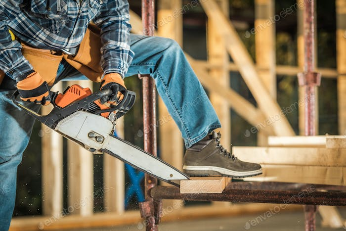 Wooden House Structure Construction Site Power Tools