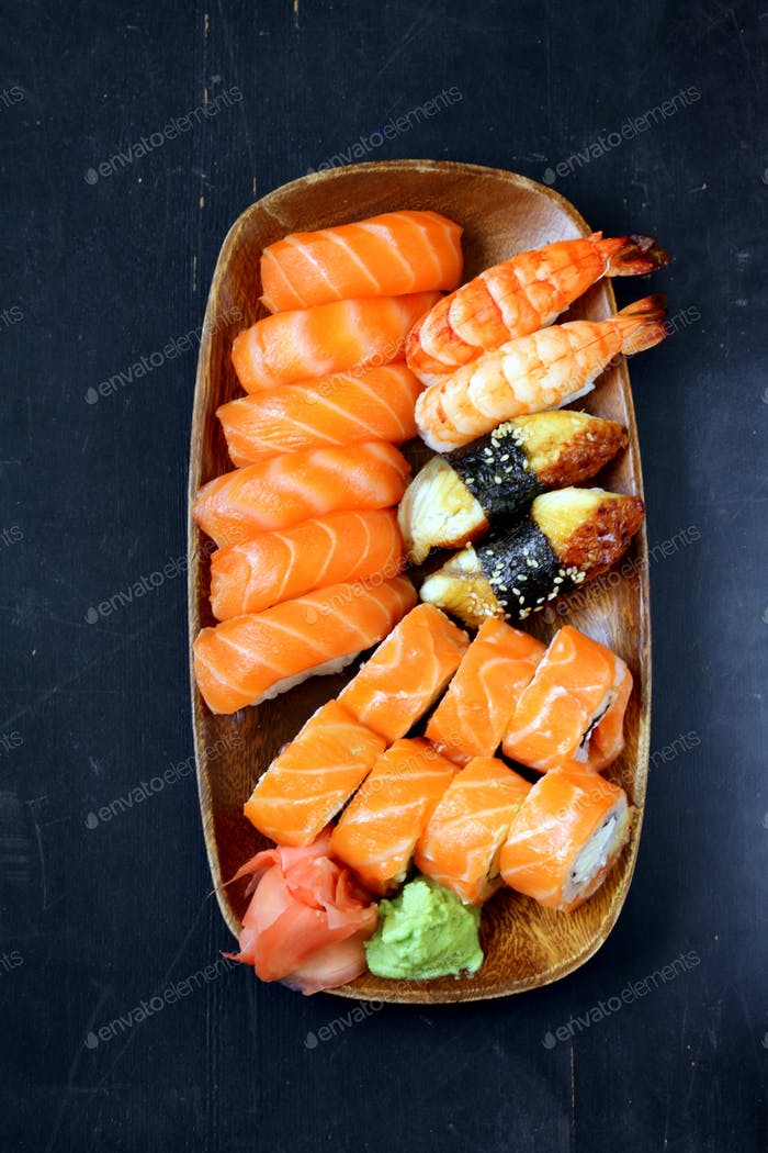 Assorted Sushi with Salmon, Shrimp