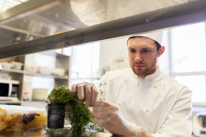 männlicher Koch arbeitet in der Restaurant-Küche