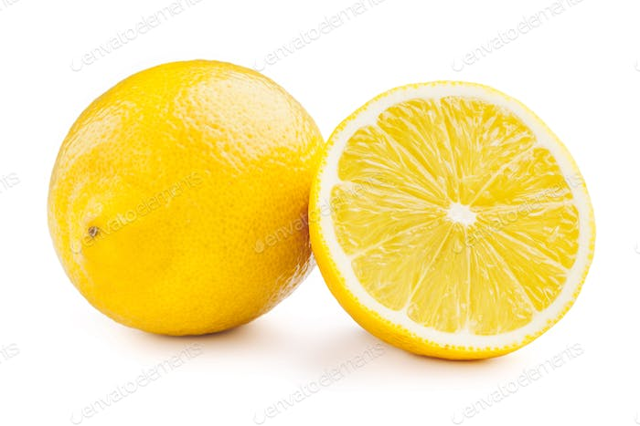 Lemon and cut half slice isolated