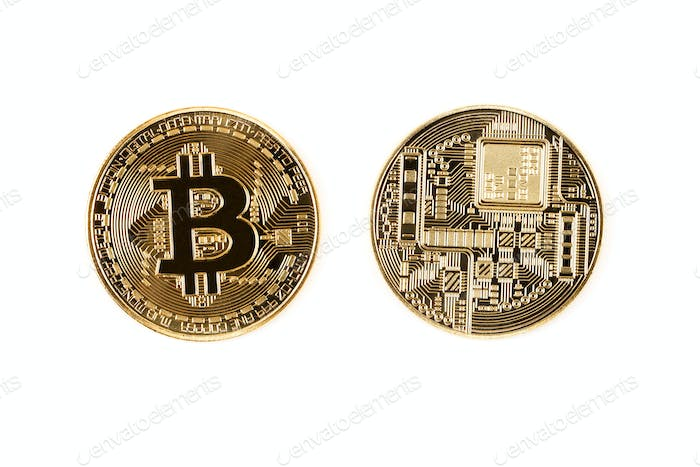 Golden Bitcoin on a white background