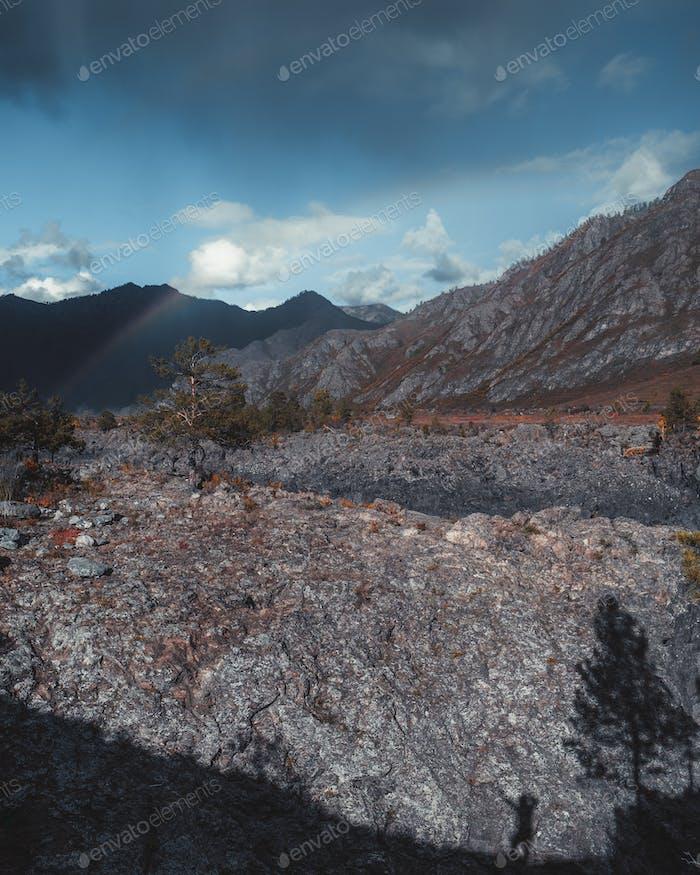 Mountain scenery, human silhouette