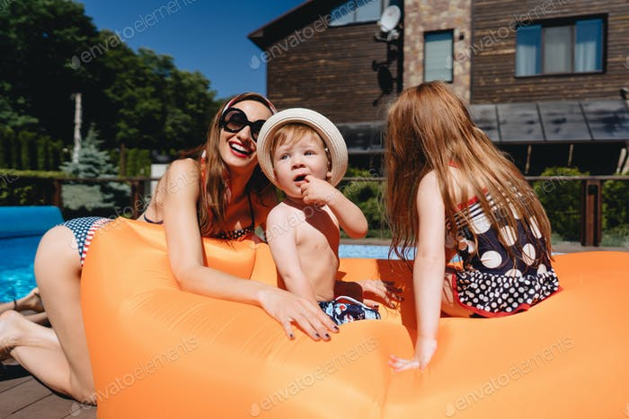 Beauty mother with daughter and littel son