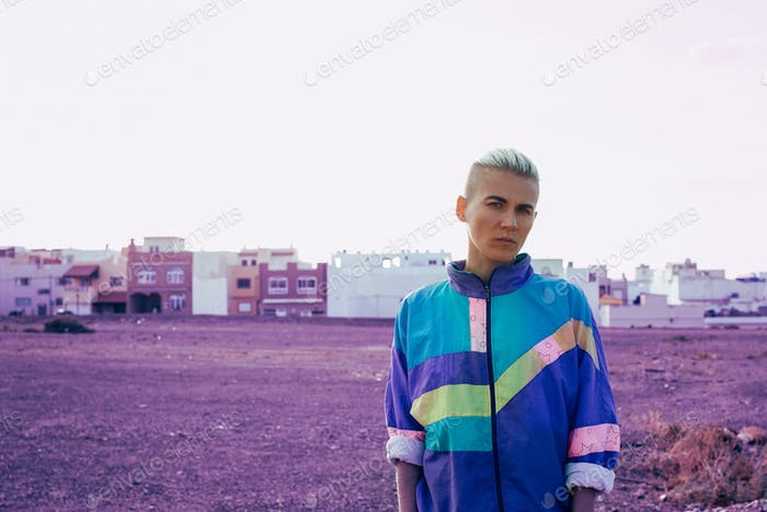 Girl with short hair urban style minimal creative art