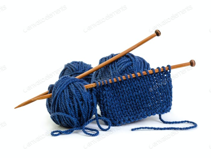 Wool yarn blue colors and wooden needles