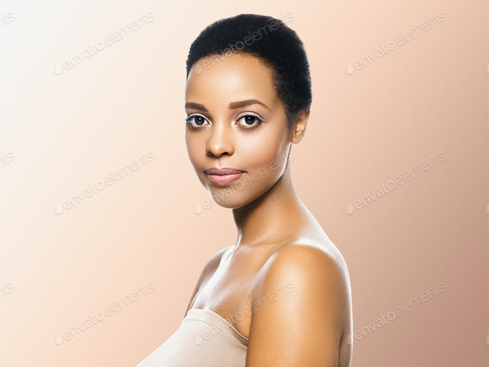 Black skin beauty woman healthyskin teeth and hair model. Beige background.