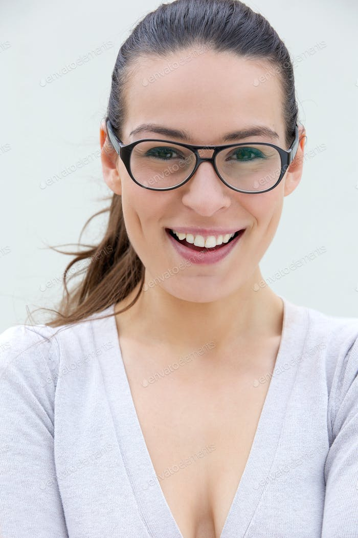 Confident woman smiling with glasses