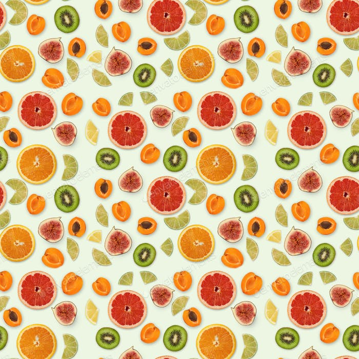 Seamless collage of fruits on white background, isolated