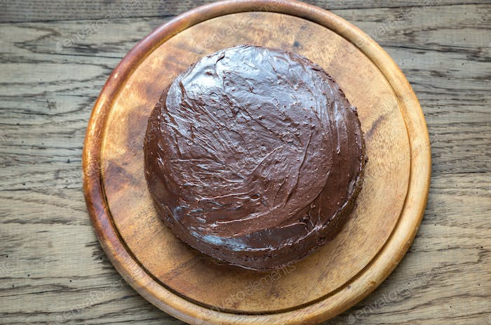 Sacher torte on the wooden board