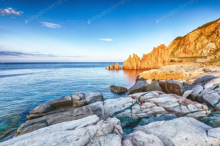 "Awesome sunset view of Red Rocks (called ""Rocce Rosse"") in Arbatax."