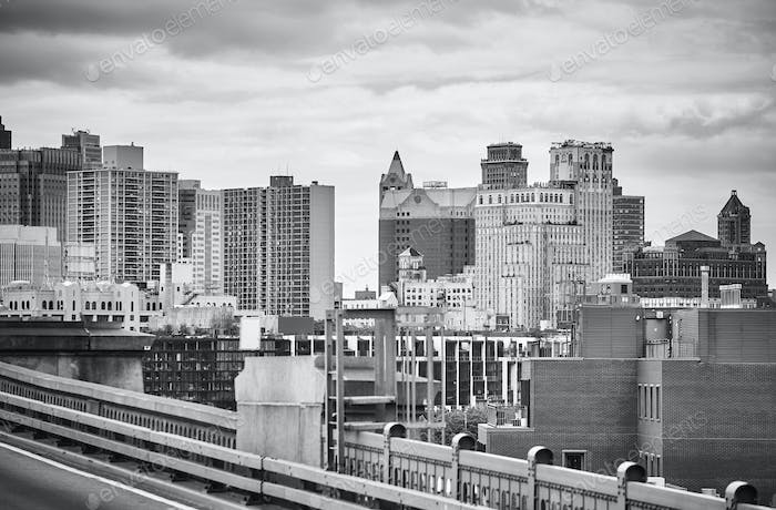 Black and white picture of New York, USA.