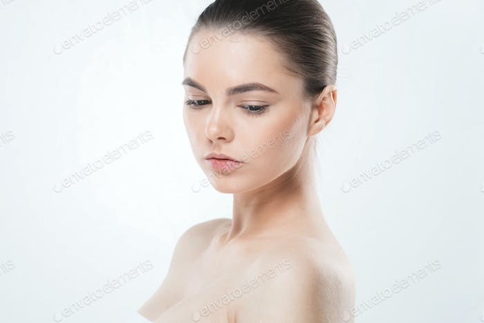 Woman skin face , beautiful healthy skin care female portrait, clean face without makeup, natural