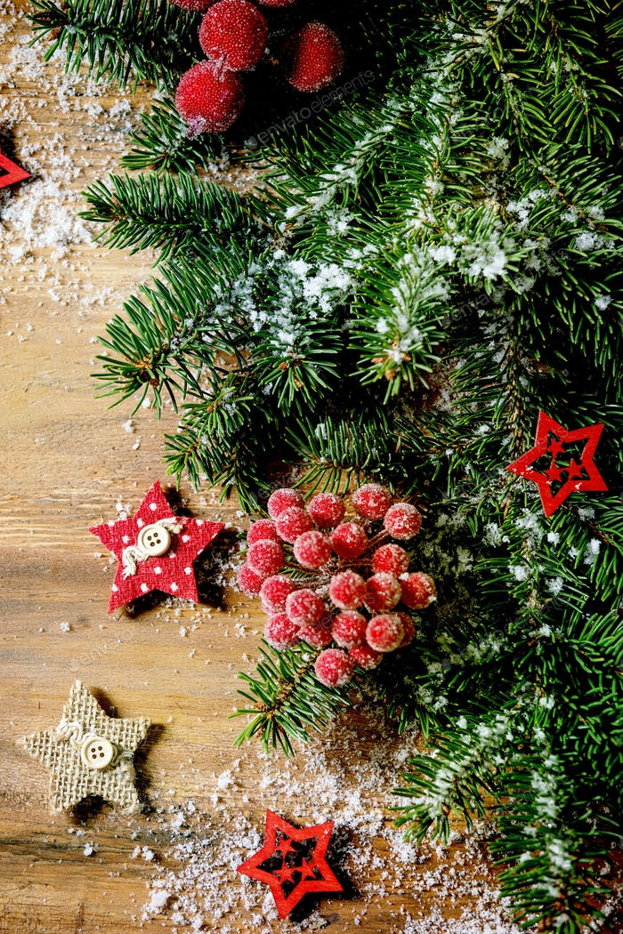 Christmas New year creative layout with fir tree on wood