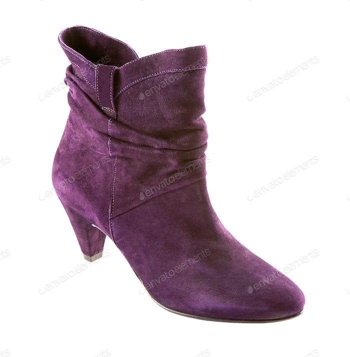 Purple suede high heel ankle boot
