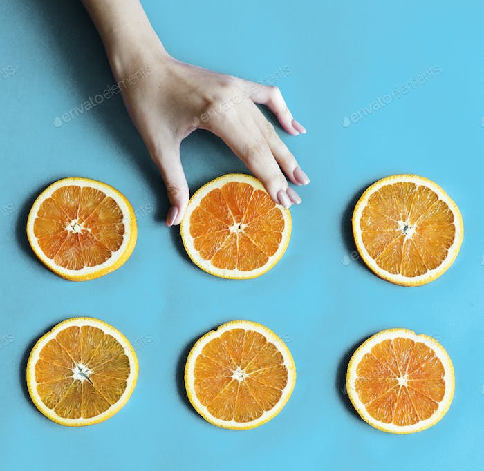 Healthy tasty sliced citrus fruits