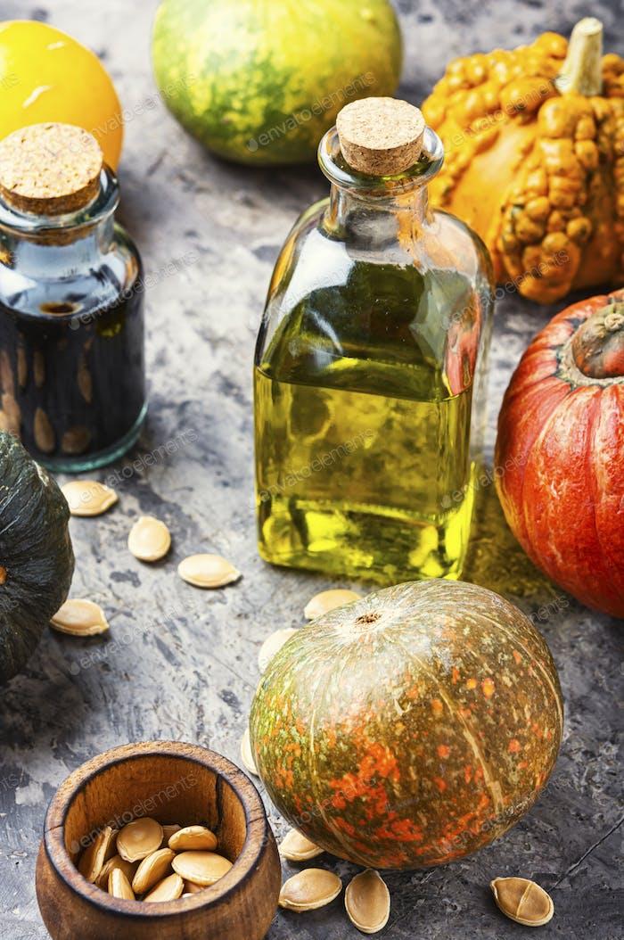 Bottle of pumpkin oil