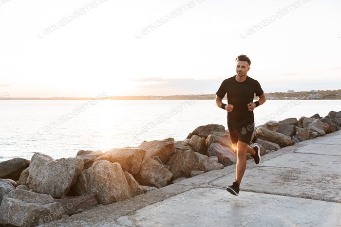 Portrait of a healthy sportsman jogging