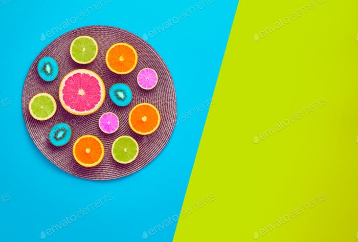 Fashion Summer Tropical fruit. Minimal Art Concept