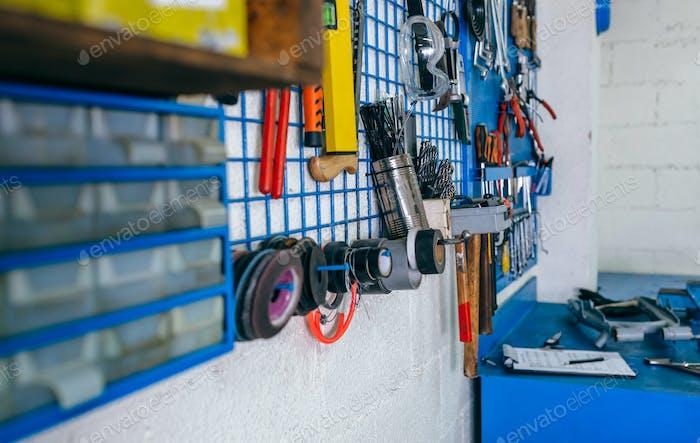 Detail of motorcycle workshop tools board