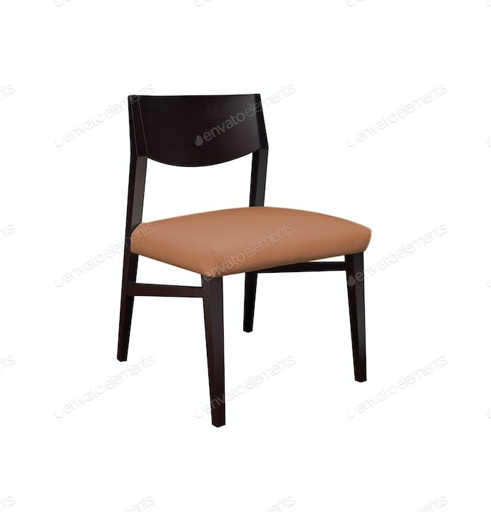 modern brown chair on white background