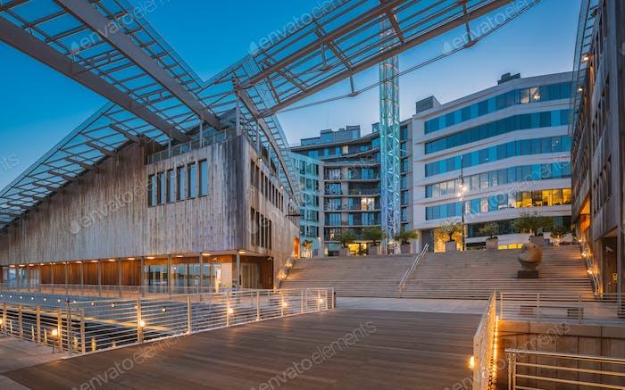 Oslo, Norway. Museum of Modern Art, Residential Multi-storey Houses In Aker Brygge District In