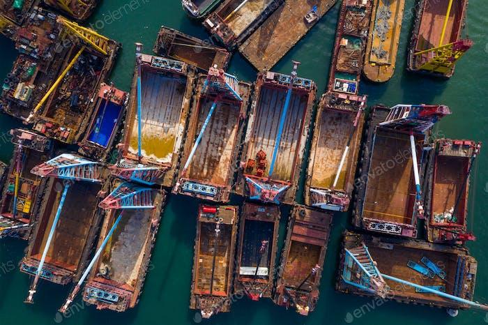 Hong Kong, 15 May 2020: Top view of the crane ship