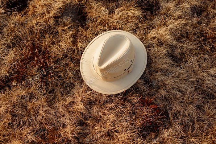 old boho or cowboy hat on grass at sunset in mountains
