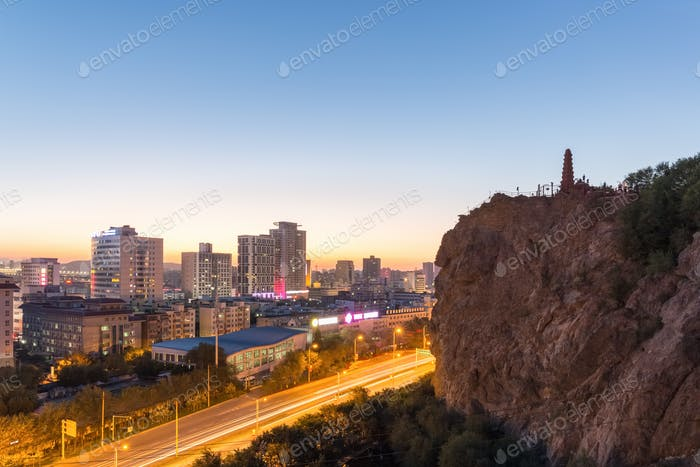 beautiful urumqi cityscape in sunset