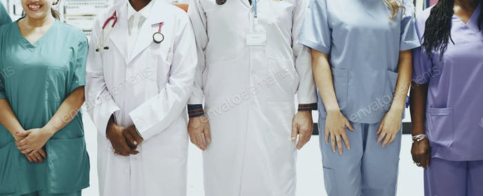 Group of medical professionals at the ICU ready for coronavirus patients