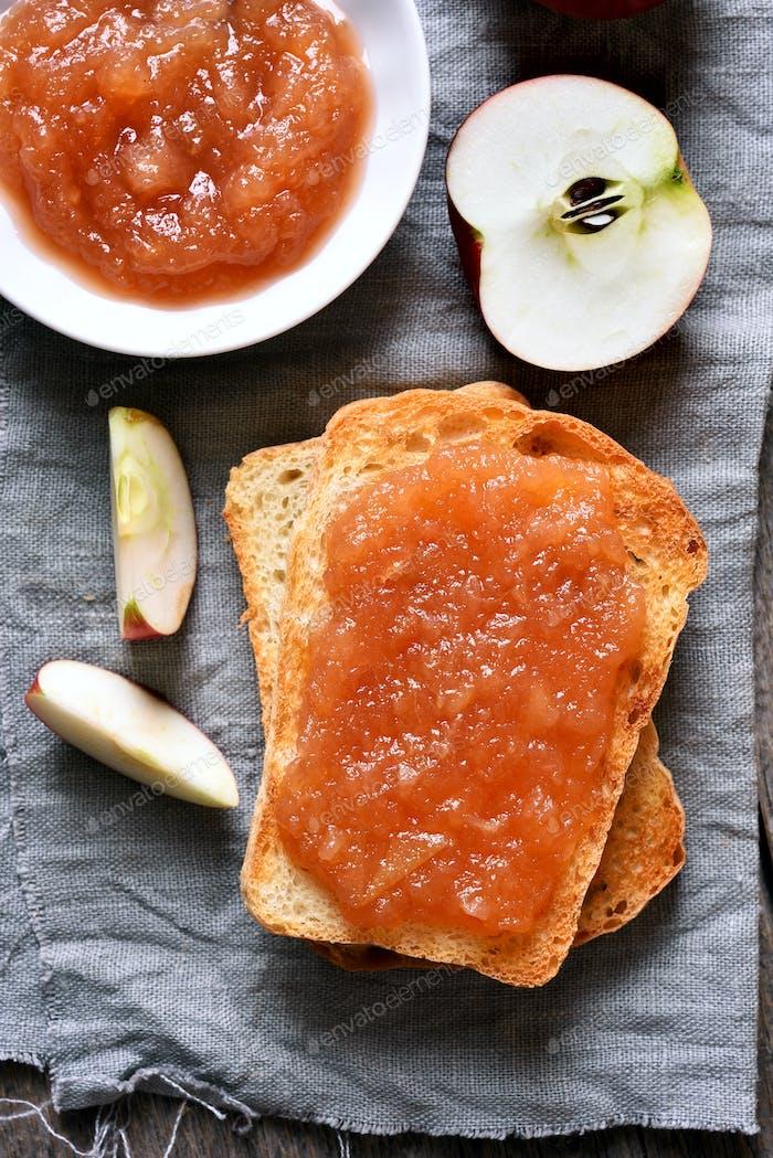 Apple jam on toast bread