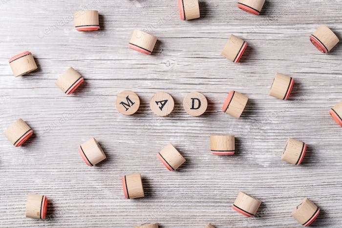 Word mad made from wooden letters