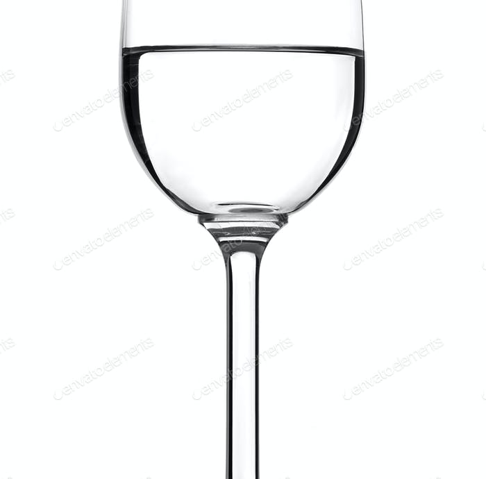 Whineglass whith water isolated on white