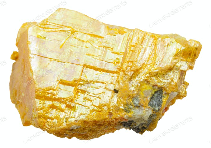 yellow orpiment stone isolated on white