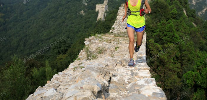 Trail running on great wall in china