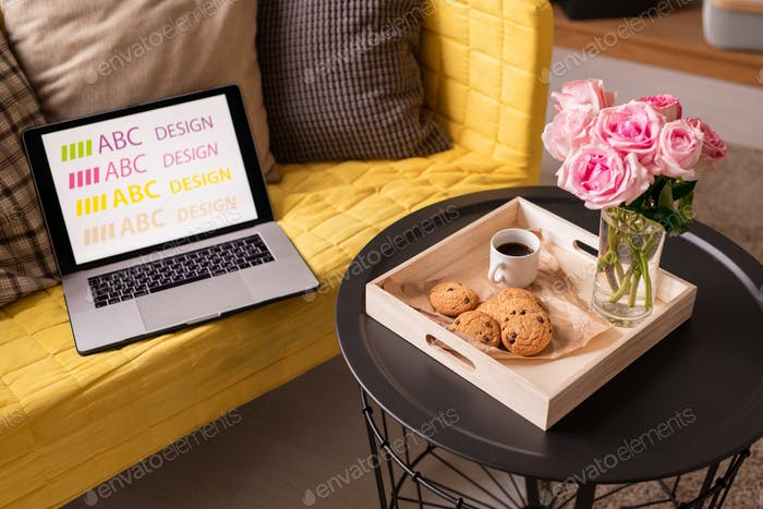 Laptop and cushions on couch by small table with flowers, drink and cookies