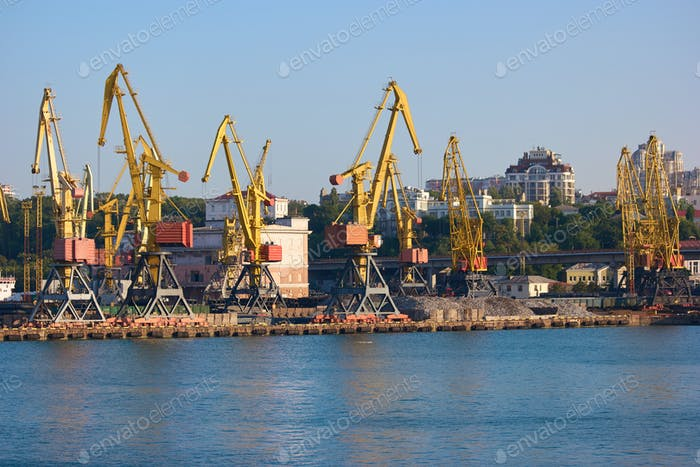 Wharf cranes with city background.