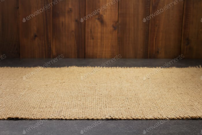 burlap hessian sacking cloth on wooden table