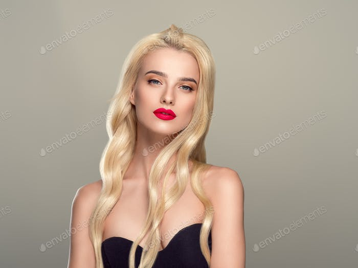 Blonde Hair Woman Beautiful Curly Hairstyle Wavy Long hair Red Lips