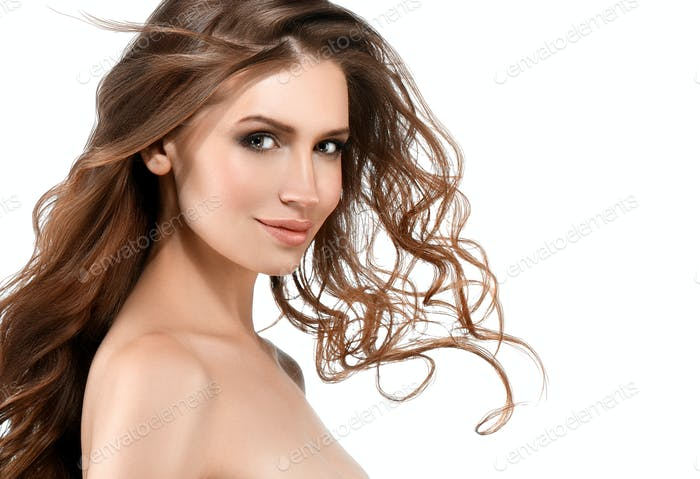 Young woman with beauty skin and beauty hairstyle isolated on white