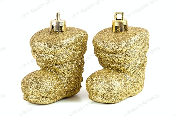 Shoes shaped christmas bauble on white background