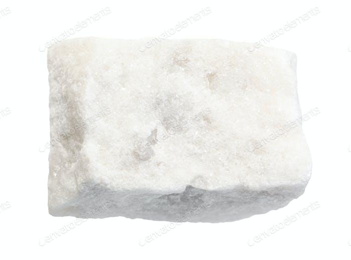unpolished white marble rock isolated on white